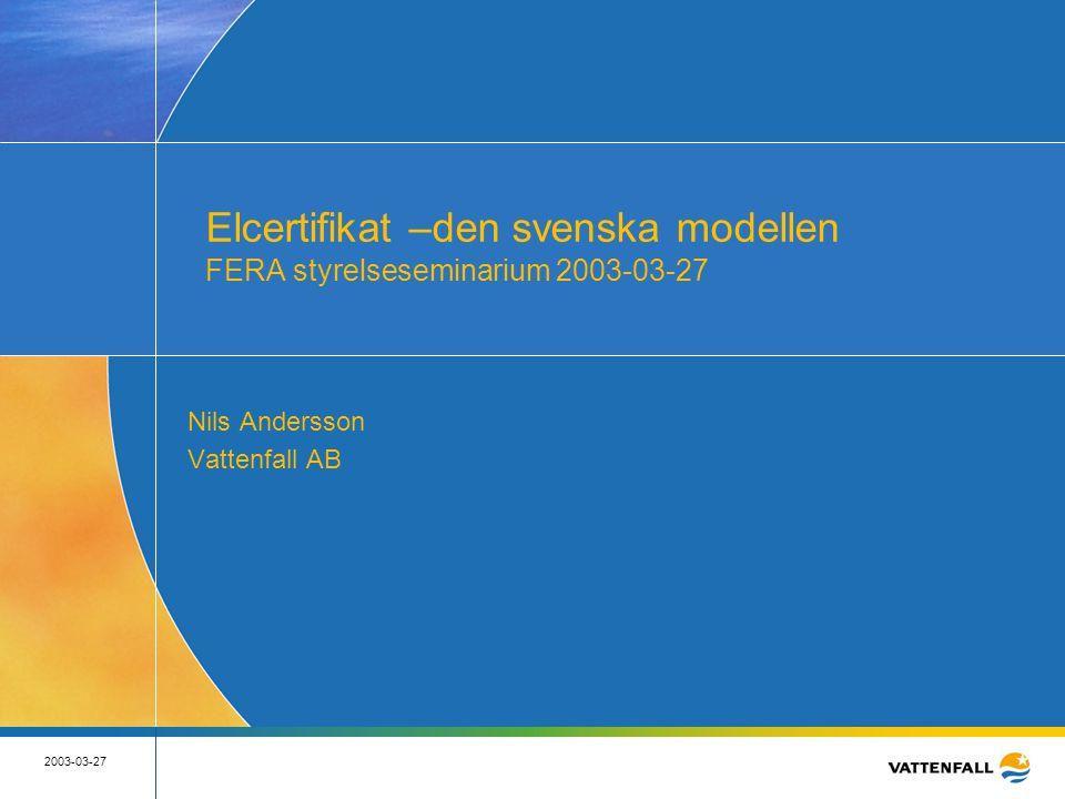 2 2003-03-27 2 EU:s målsättning för förnybar elproduktion • EU:s mål är att 22% av elkonsumtionen 2010 utgörs av förnybar el • RES-E direktivet anger referensvärden för nationella indikativa mål för medlemsländerna
