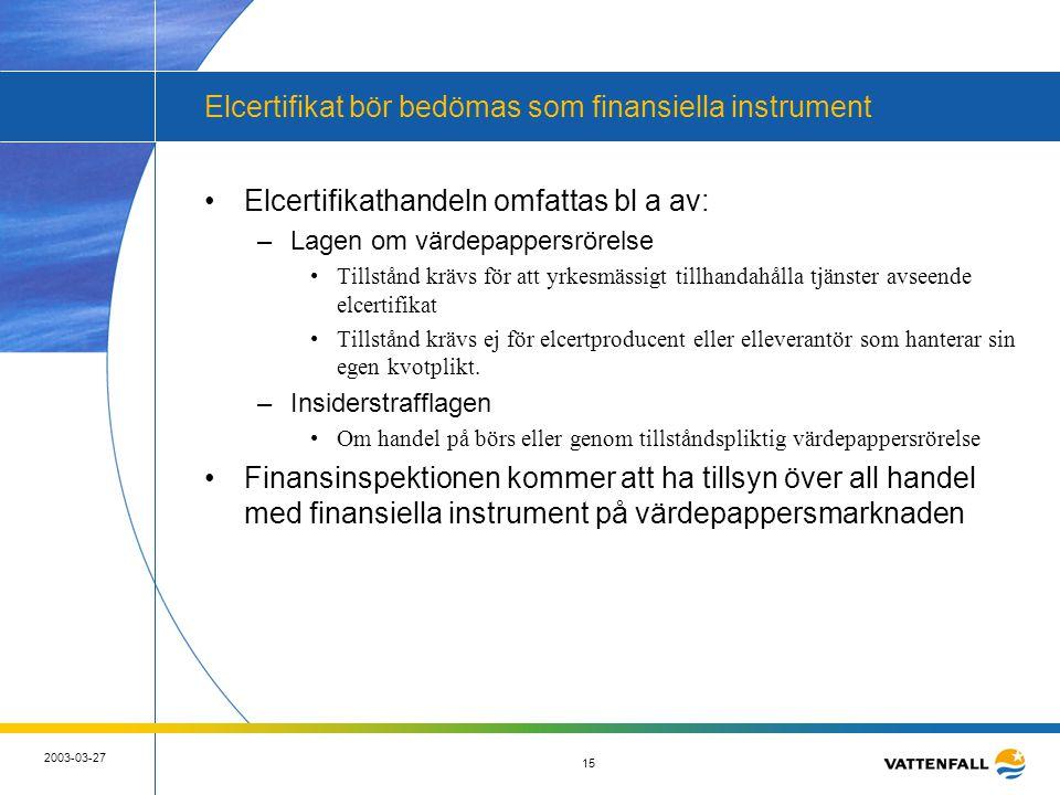 15 2003-03-27 15 Elcertifikat bör bedömas som finansiella instrument •Elcertifikathandeln omfattas bl a av: –Lagen om värdepappersrörelse •Tillstånd k