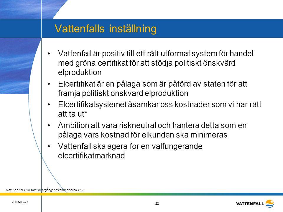 22 2003-03-27 22 Vattenfalls inställning •Vattenfall är positiv till ett rätt utformat system för handel med gröna certifikat för att stödja politiskt