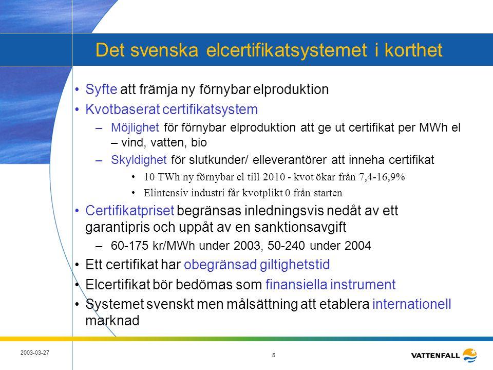 5 2003-03-27 5 Det svenska elcertifikatsystemet i korthet •Syfte att främja ny förnybar elproduktion •Kvotbaserat certifikatsystem –Möjlighet för förn