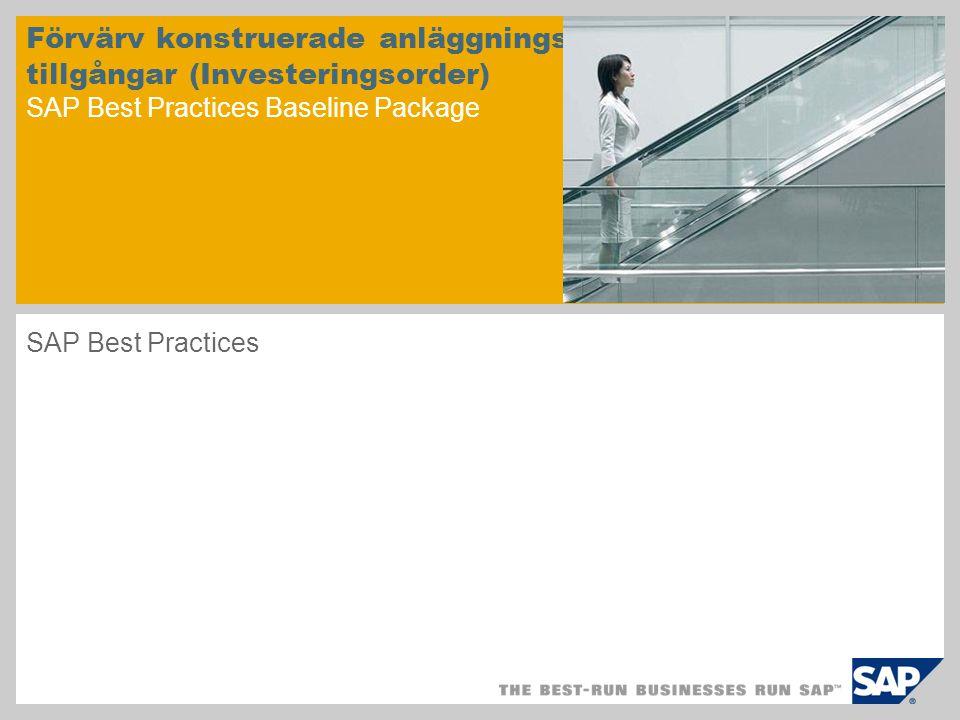 Scenarioöversikt – 1 Syfte  Övervaka pågående nyanläggning tills den är slutförd Fördelar  Transparent vy av anläggning för anskaffning  Automatiserad effektiv bearbetning Nyckelprocessflöden  Skapa en investeringsorder med pågående nyanläggning  Skapa budget för anläggning  Frisläppa investeringsorder  Boka faktura på investeringsorder  Övervaka order  Avräkning av pågående nyanläggning  Slutföra order Syfte och fördelar: