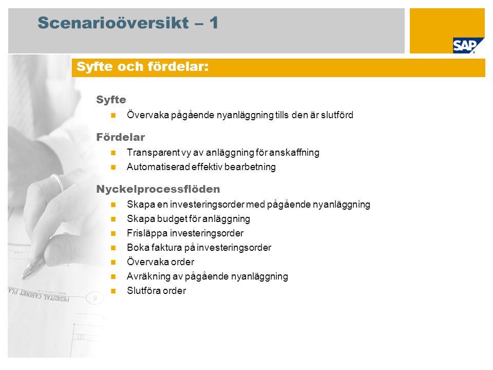 Scenarioöversikt – 1 Syfte  Övervaka pågående nyanläggning tills den är slutförd Fördelar  Transparent vy av anläggning för anskaffning  Automatise