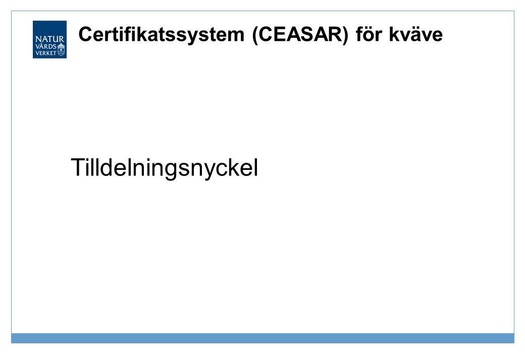 Certifikatssystem (CEASAR) för kväve Tilldelningsnyckel