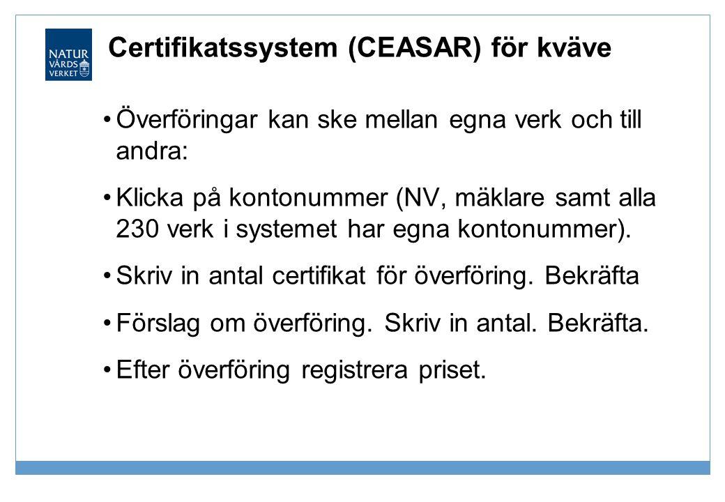 Certifikatssystem (CEASAR) för kväve •Överföringar kan ske mellan egna verk och till andra: •Klicka på kontonummer (NV, mäklare samt alla 230 verk i s