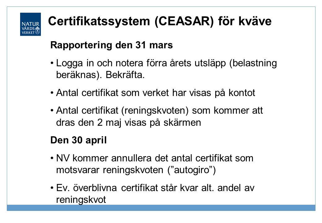 Certifikatssystem (CEASAR) för kväve Rapportering den 31 mars •Logga in och notera förra årets utsläpp (belastning beräknas). Bekräfta. •Antal certifi