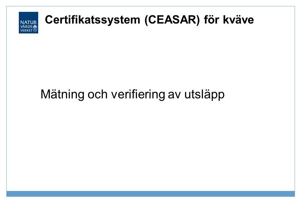 Certifikatssystem (CEASAR) för kväve Mätning och verifiering av utsläpp