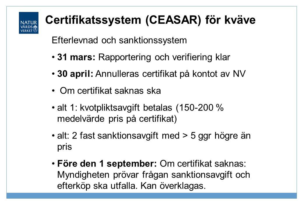 Certifikatssystem (CEASAR) för kväve Efterlevnad och sanktionssystem •31 mars: Rapportering och verifiering klar •30 april: Annulleras certifikat på k