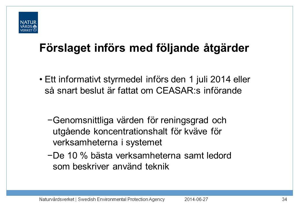 Förslaget införs med följande åtgärder •Ett informativt styrmedel införs den 1 juli 2014 eller så snart beslut är fattat om CEASAR:s införande −Genoms