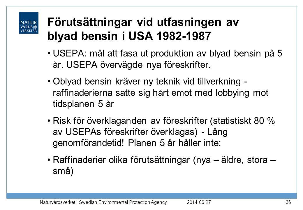 Förutsättningar vid utfasningen av blyad bensin i USA 1982-1987 •USEPA: mål att fasa ut produktion av blyad bensin på 5 år. USEPA övervägde nya föresk