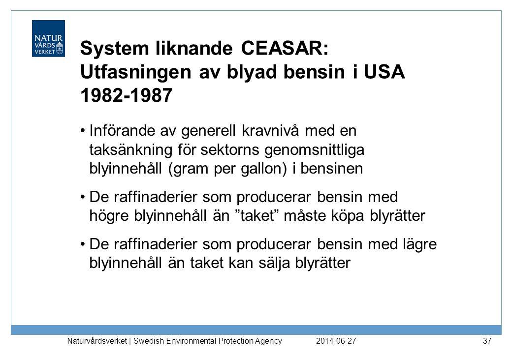 System liknande CEASAR: Utfasningen av blyad bensin i USA 1982-1987 •Införande av generell kravnivå med en taksänkning för sektorns genomsnittliga bly