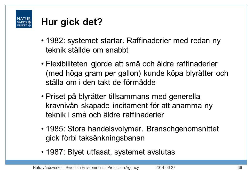 Hur gick det? •1982: systemet startar. Raffinaderier med redan ny teknik ställde om snabbt •Flexibiliteten gjorde att små och äldre raffinaderier (med