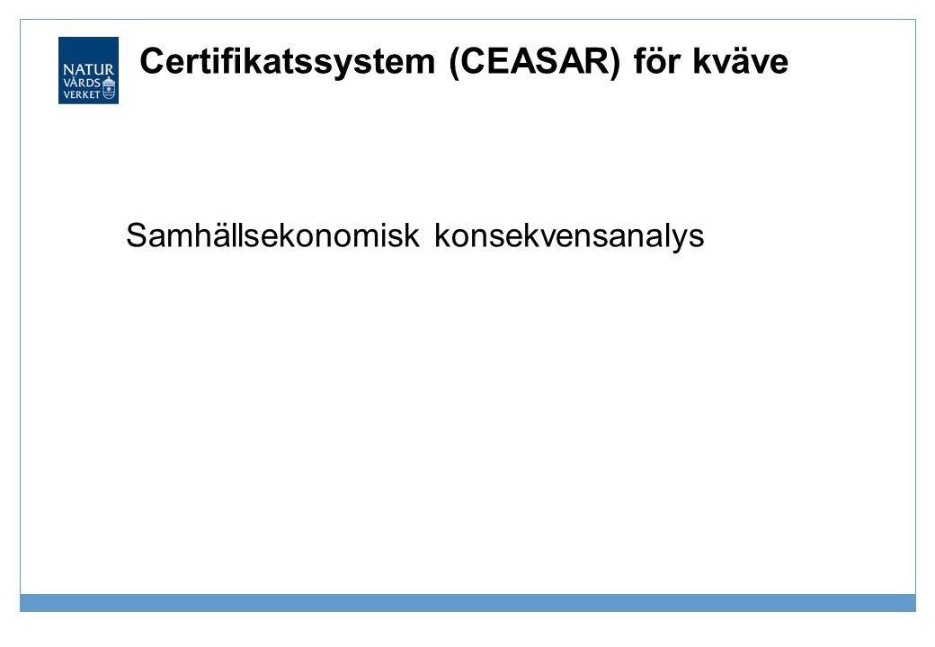 Certifikatssystem (CEASAR) för kväve Samhällsekonomisk konsekvensanalys