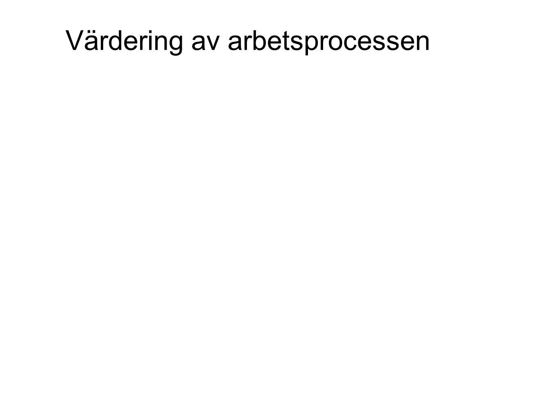 År 1-3 Muntlig utvärdering År 4-6 Värdering av arbetsprocessen.