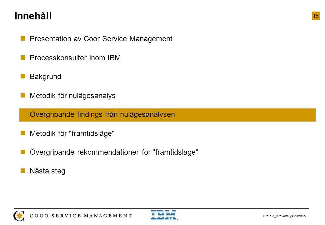 15 Projekt_Kravanalys Maximo  Presentation av Coor Service Management  Processkonsulter inom IBM  Bakgrund  Metodik för nulägesanalys  Övergripan