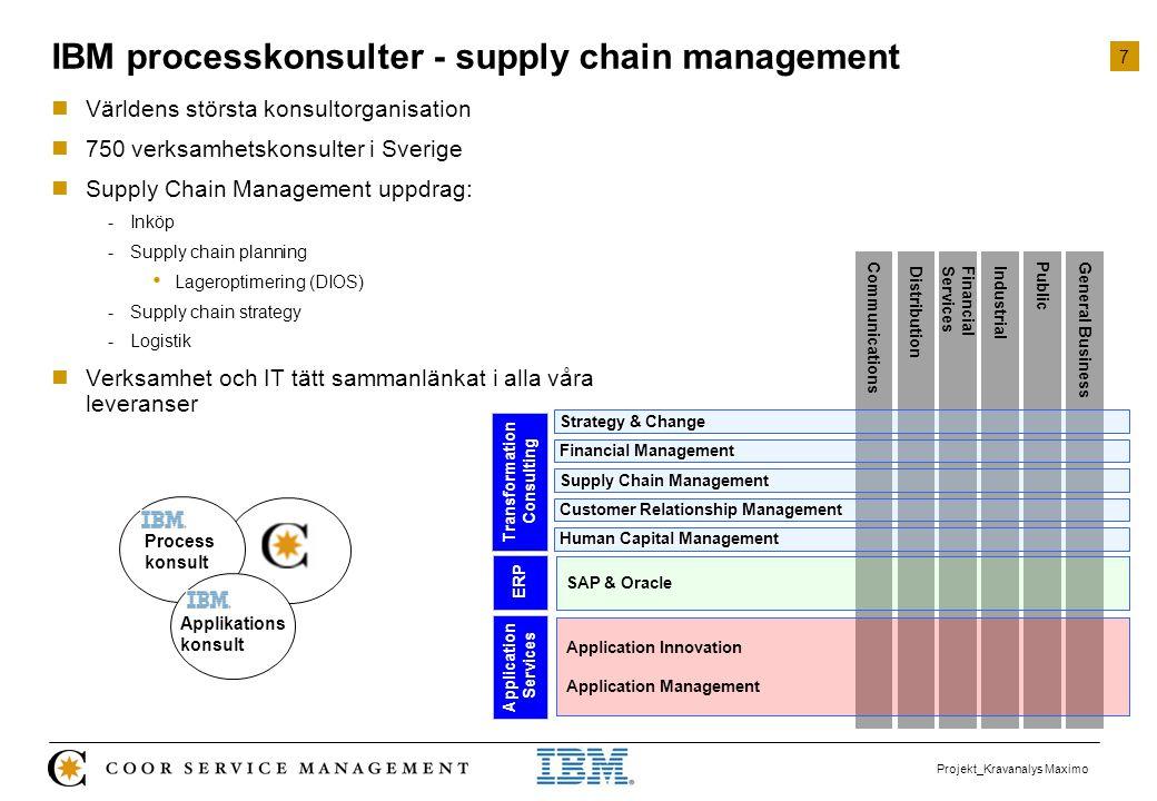 7 Projekt_Kravanalys Maximo IBM processkonsulter - supply chain management  Världens största konsultorganisation  750 verksamhetskonsulter i Sverige
