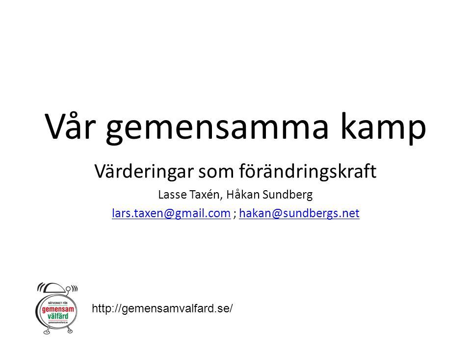 Vår gemensamma kamp Värderingar som förändringskraft Lasse Taxén, Håkan Sundberg lars.taxen@gmail.comlars.taxen@gmail.com ; hakan@sundbergs.nethakan@s