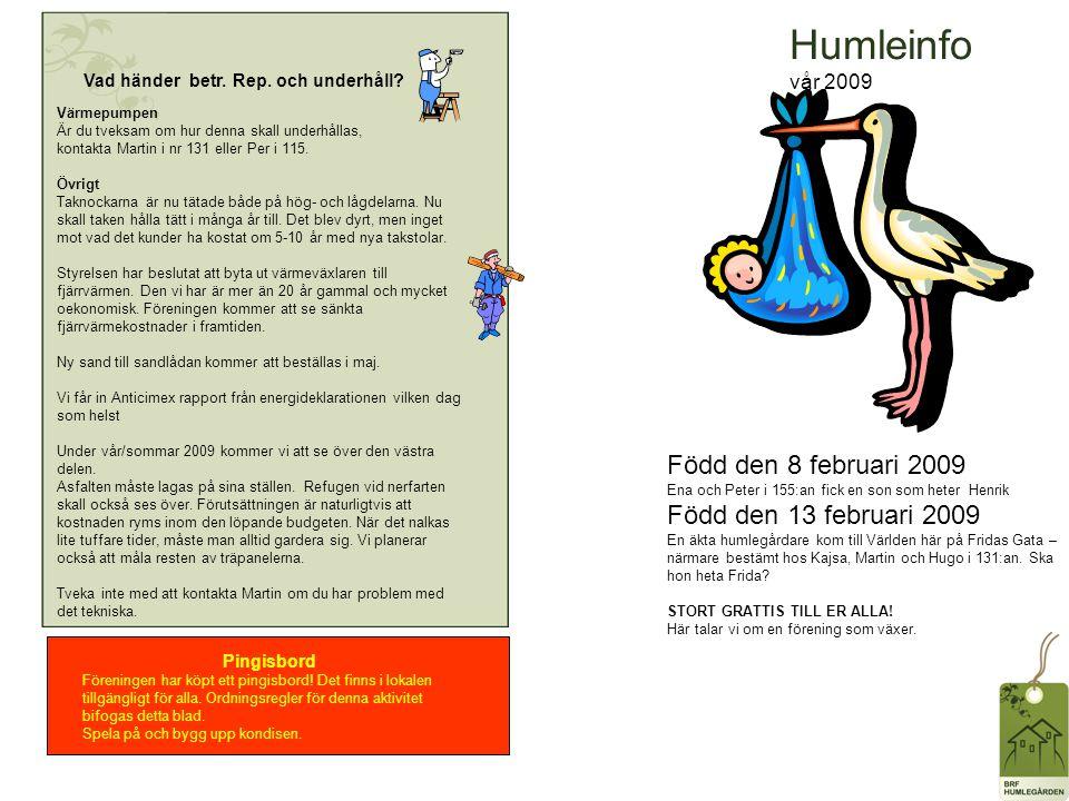 Humleinfo vår 2009 Vad händer betr. Rep. och underhåll.