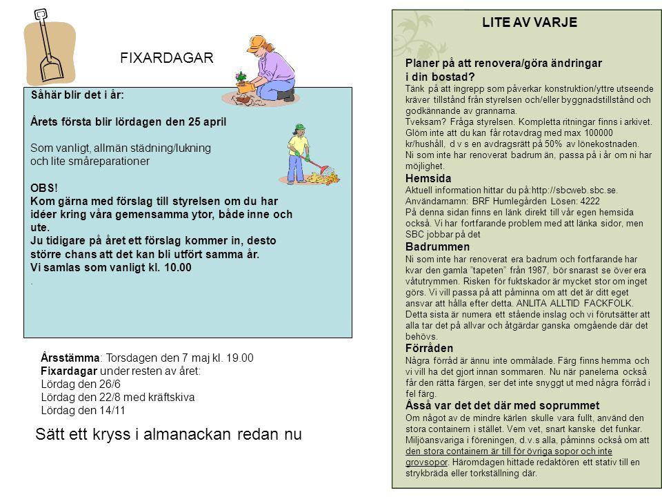 FIXARDAGAR Såhär blir det i år: Årets första blir lördagen den 25 april Som vanligt, allmän städning/lukning och lite småreparationer OBS.