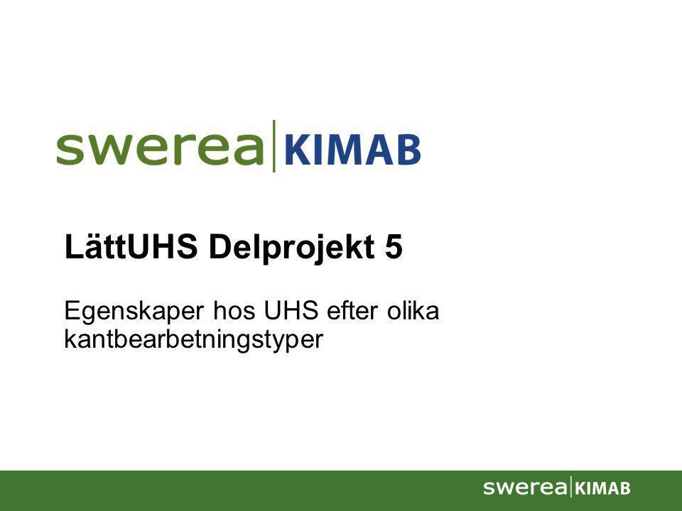2008-10-28Presentation av Swerea KIMAB2 LättUHS Delprojekt 5 Konstruktion och dimensionering för UHS Mål •Att bestämma dimensioneringsdata i utmattnings- och krocklast för urval av UHS material efter klippning.