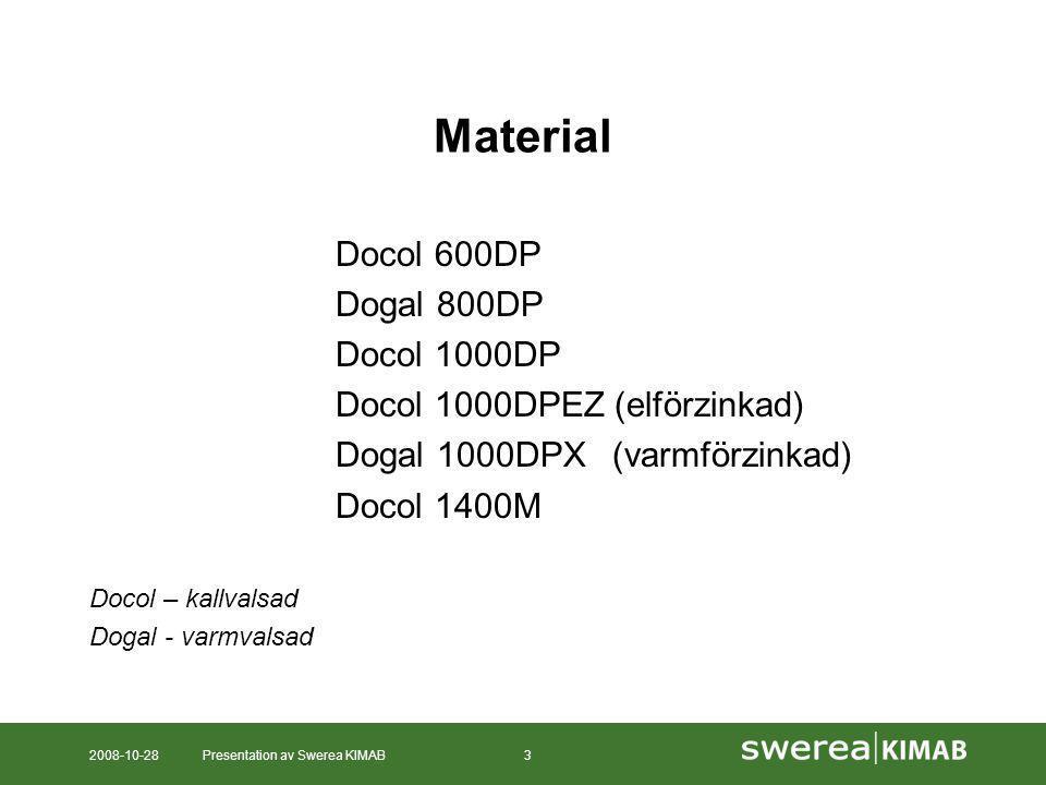 2008-10-28Presentation av Swerea KIMAB3 Material Docol 600DP Dogal 800DP Docol 1000DP Docol 1000DPEZ (elförzinkad) Dogal 1000DPX(varmförzinkad) Docol 1400M Docol – kallvalsad Dogal - varmvalsad