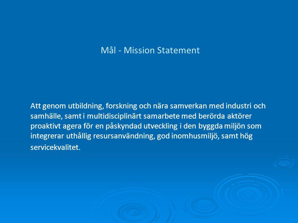 Mål - Mission Statement Att genom utbildning, forskning och nära samverkan med industri och samhälle, samt i multidisciplinärt samarbete med berörda aktörer proaktivt agera för en påskyndad utveckling i den byggda miljön som integrerar uthållig resursanvändning, god inomhusmiljö, samt hög servicekvalitet.