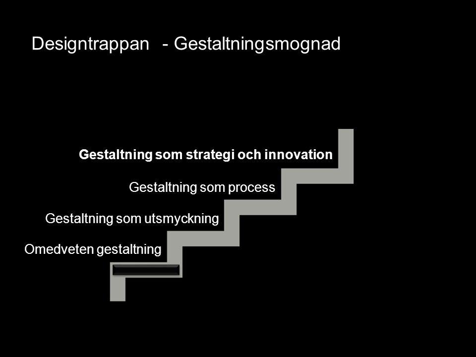 Gestaltning som utsmyckning Gestaltning som process Omedveten gestaltning Gestaltning som strategi och innovation Designtrappan - Gestaltningsmognad