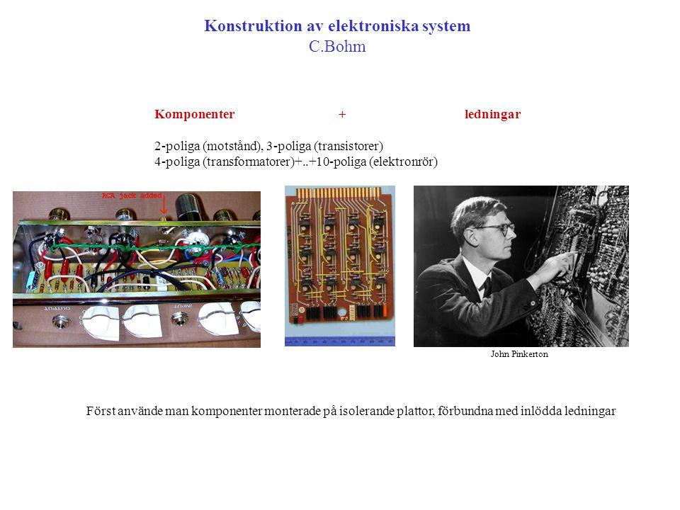 Konstruktion av elektroniska system C.Bohm Komponenter + ledningar 2-poliga (motstånd), 3-poliga (transistorer) 4-poliga (transformatorer)+..+10-polig