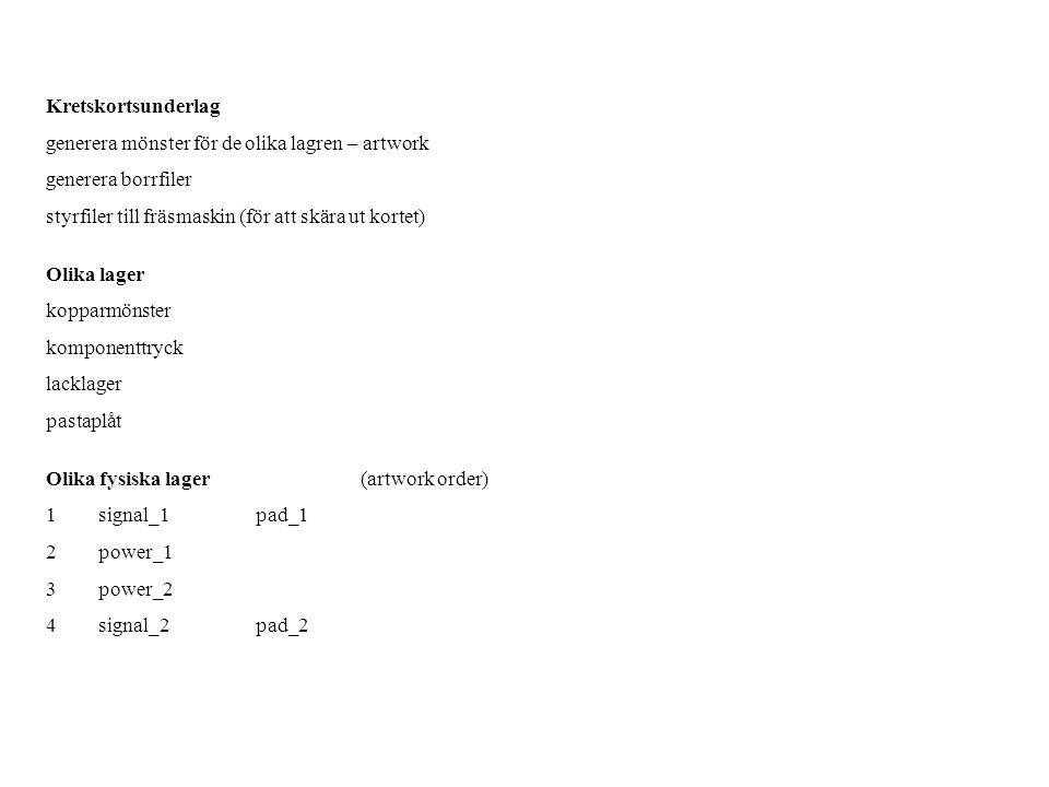 Kretskortsunderlag generera mönster för de olika lagren – artwork generera borrfiler styrfiler till fräsmaskin (för att skära ut kortet) Olika lager k