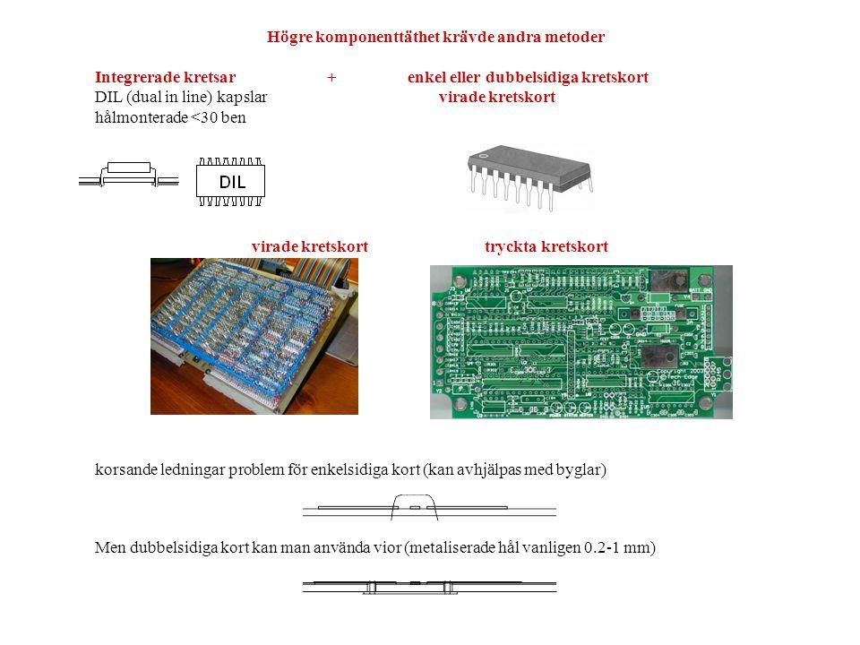 PCB tillverkning · PCB laminat omkring 0.2mm – olika typer: FR4, Polyimid (Kapton) och Roger · borra · plättera hål elektrolytiskt – lägg på en spänning mellan båda sidorna i ett bad · lägg på fotoresist · belys mönster · skölj · etsa · bygg upp lagret kemiskt · limma ihop flera lager · komponenttryck · lacklager · test på spikmattor eller flying probes