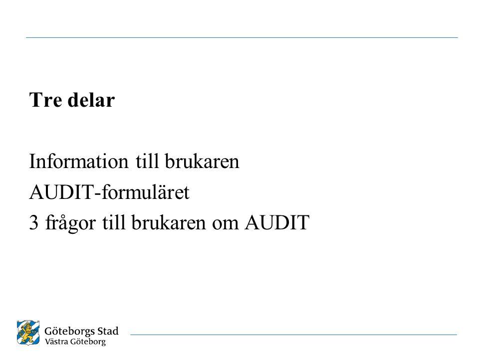 Tre delar Information till brukaren AUDIT-formuläret 3 frågor till brukaren om AUDIT