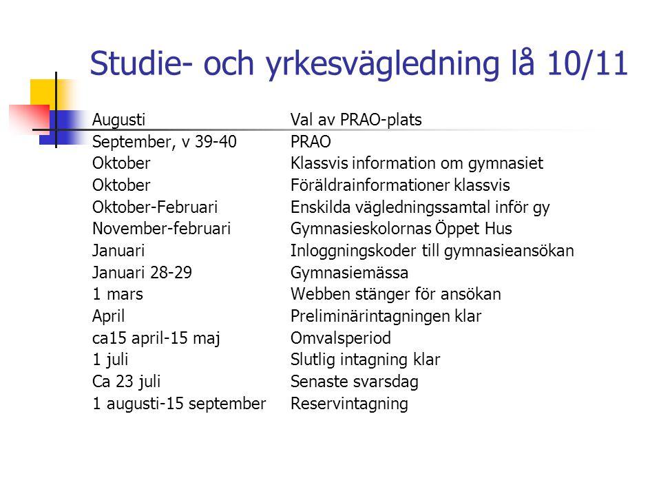 Studie- och yrkesvägledning lå 10/11 AugustiVal av PRAO-plats September, v 39-40PRAO OktoberKlassvis information om gymnasiet OktoberFöräldrainformati