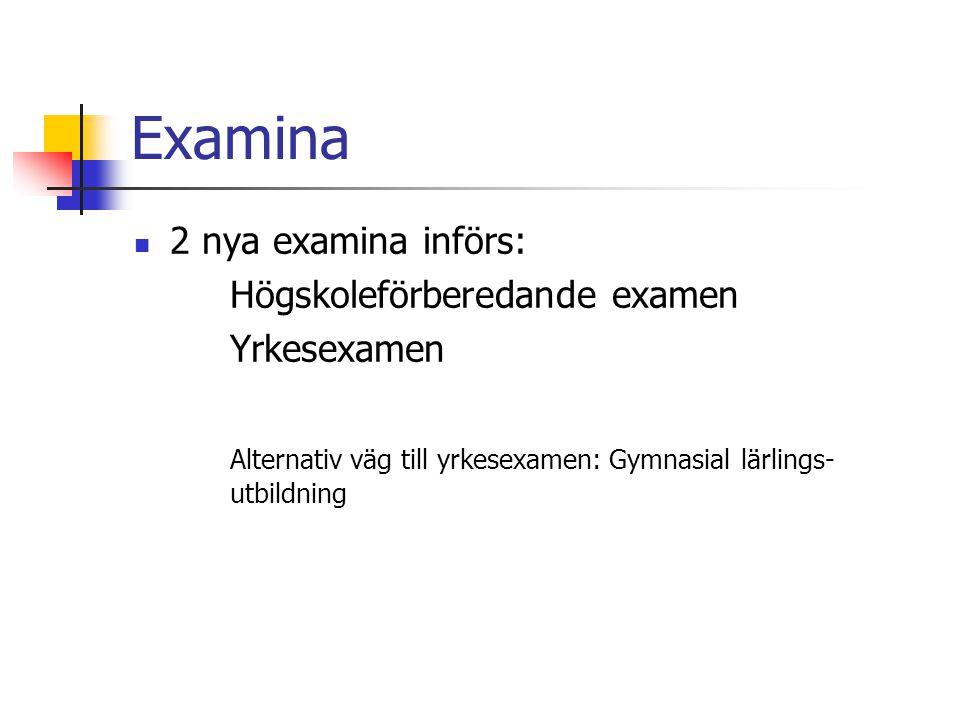 Examina  2 nya examina införs: Högskoleförberedande examen Yrkesexamen Alternativ väg till yrkesexamen: Gymnasial lärlings- utbildning