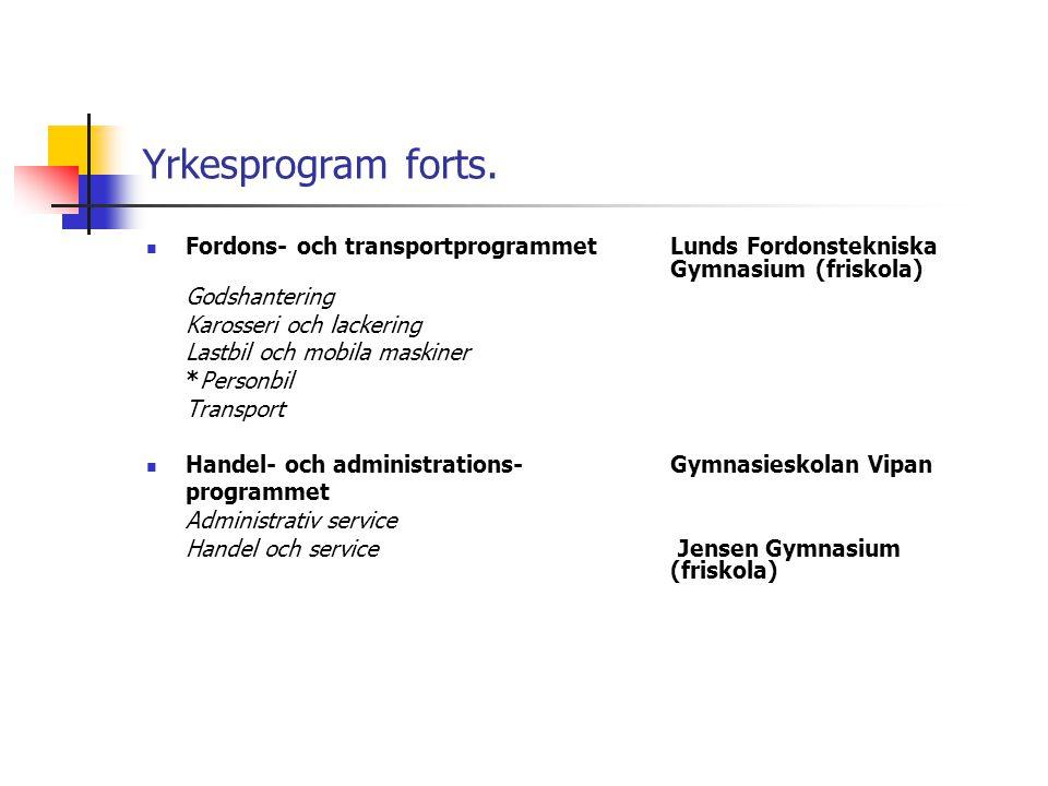 Yrkesprogram forts.  Fordons- och transportprogrammetLunds Fordonstekniska Gymnasium (friskola) Godshantering Karosseri och lackering Lastbil och mob