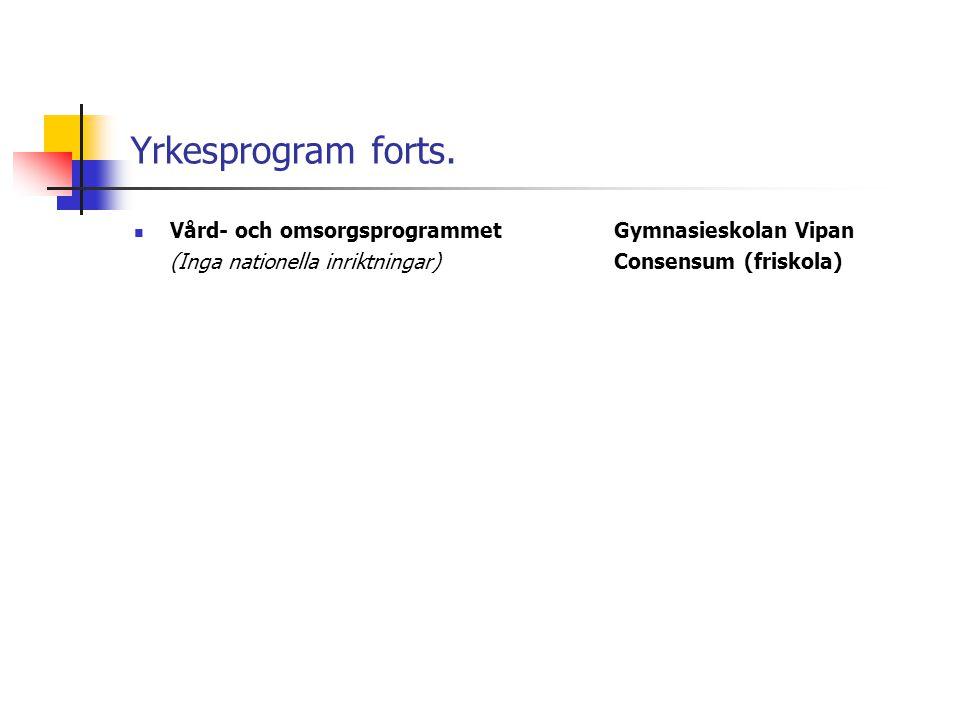 Yrkesprogram forts.  Vård- och omsorgsprogrammetGymnasieskolan Vipan (Inga nationella inriktningar)Consensum (friskola)