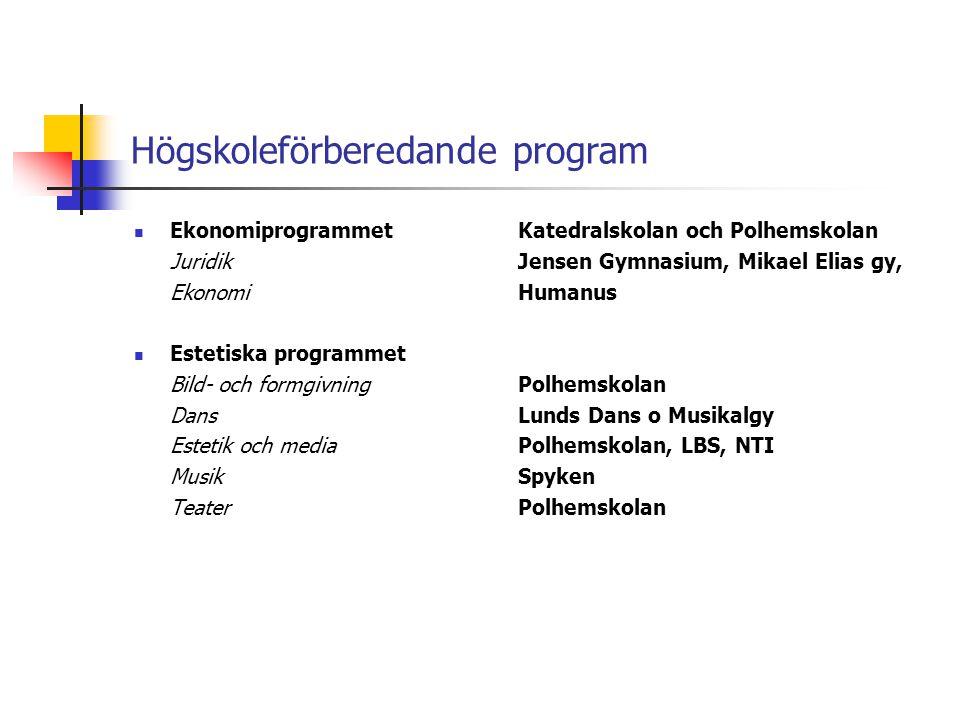 Högskoleförberedande program  EkonomiprogrammetKatedralskolan och Polhemskolan JuridikJensen Gymnasium, Mikael Elias gy, EkonomiHumanus  Estetiska p