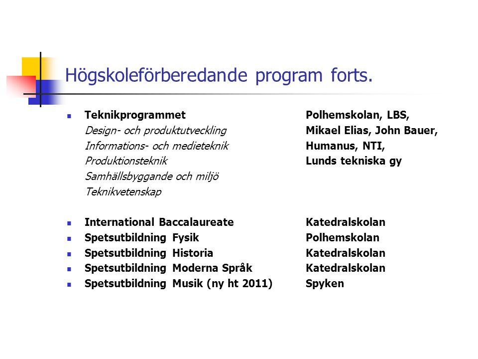 Högskoleförberedande program forts.  TeknikprogrammetPolhemskolan, LBS, Design- och produktutvecklingMikael Elias, John Bauer, Informations- och medi
