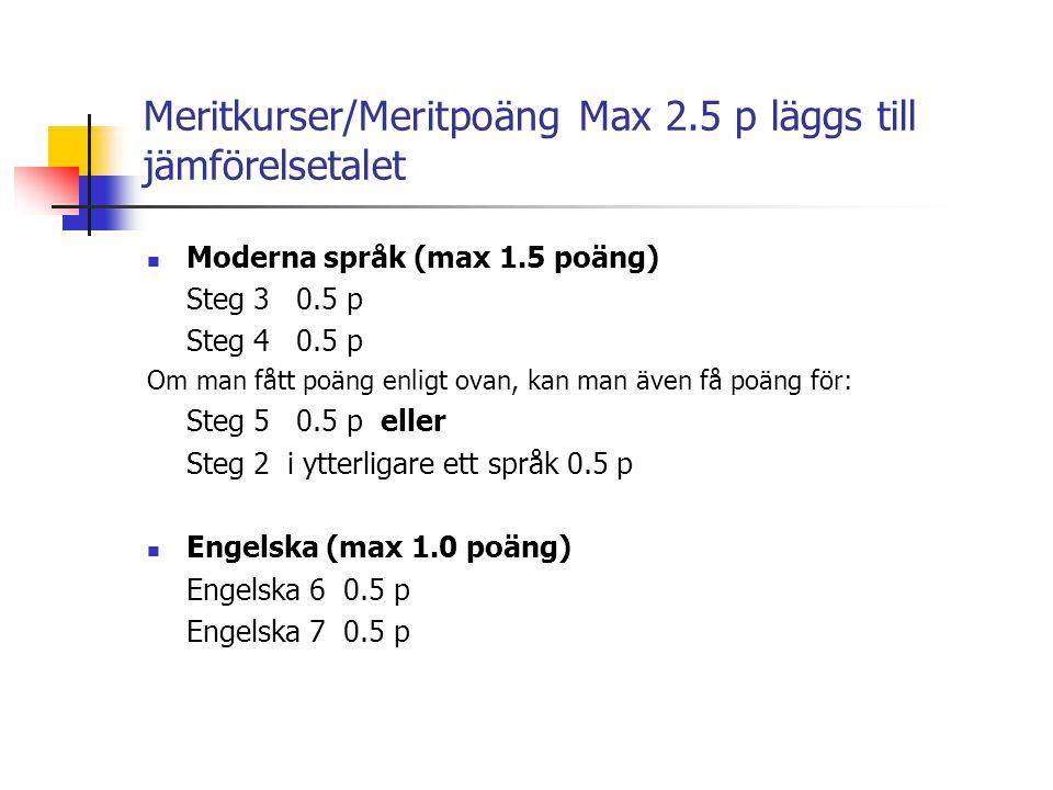 Meritkurser/Meritpoäng Max 2.5 p läggs till jämförelsetalet  Moderna språk (max 1.5 poäng) Steg 3 0.5 p Steg 4 0.5 p Om man fått poäng enligt ovan, k