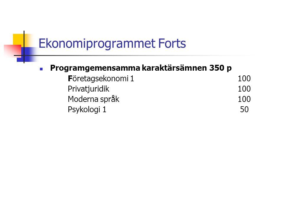 Ekonomiprogrammet Forts  Programgemensamma karaktärsämnen350 p Företagsekonomi 1100 Privatjuridik100 Moderna språk100 Psykologi 1 50