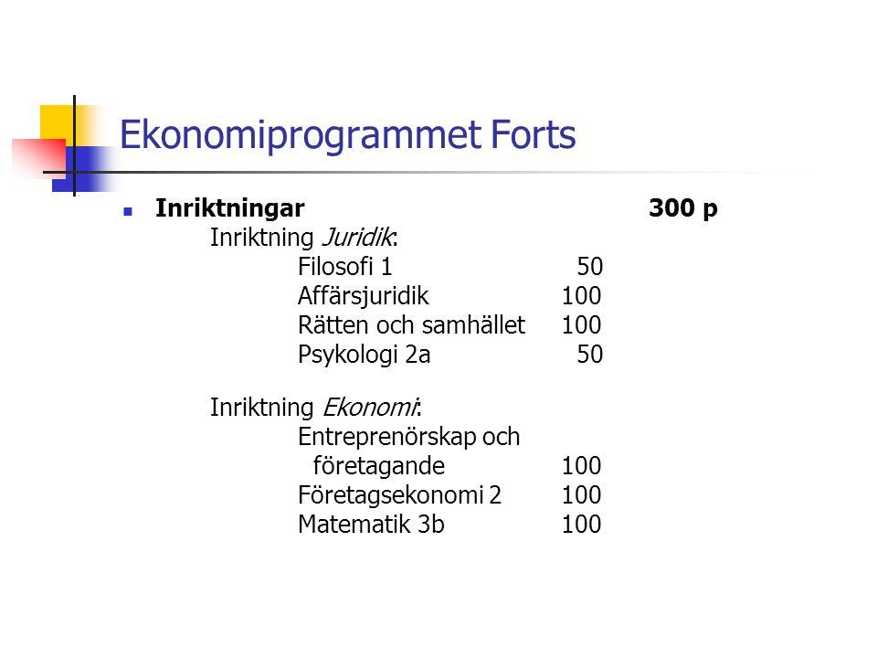 Ekonomiprogrammet Forts  Inriktningar300 p Inriktning Juridik: Filosofi 1 50 Affärsjuridik100 Rätten och samhället 100 Psykologi 2a 50 Inriktning Eko