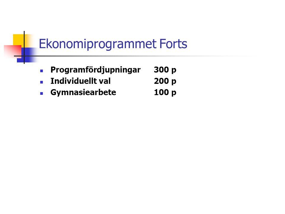 Ekonomiprogrammet Forts  Programfördjupningar 300 p  Individuellt val200 p  Gymnasiearbete100 p