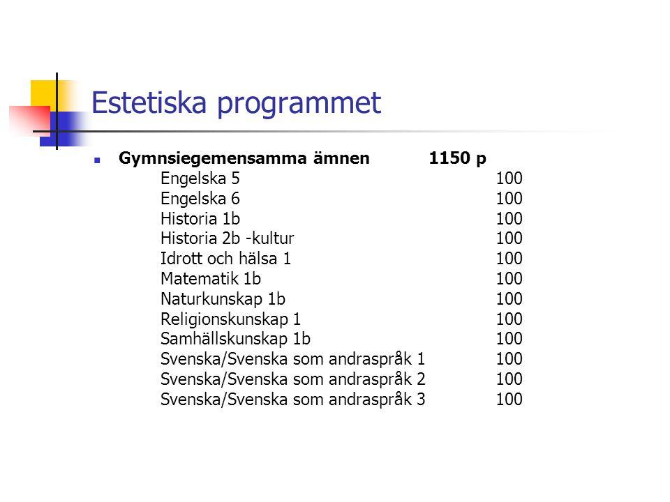 Estetiska programmet  Gymnsiegemensamma ämnen 1150 p Engelska 5100 Engelska 6100 Historia 1b100 Historia 2b -kultur100 Idrott och hälsa 1100 Matemati