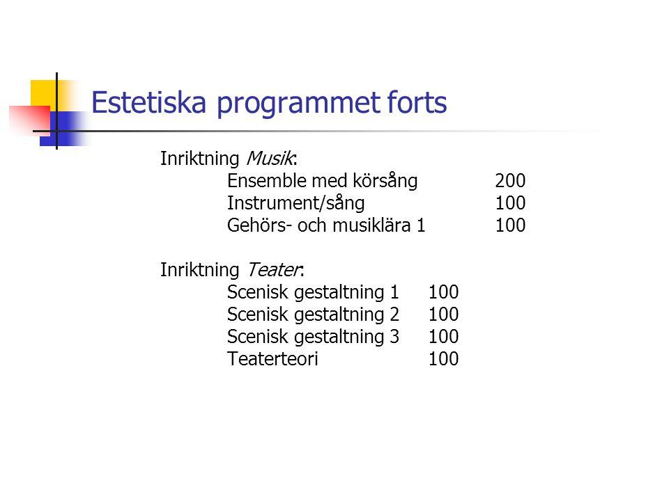 Estetiska programmet forts Inriktning Musik: Ensemble med körsång200 Instrument/sång 100 Gehörs- och musiklära 1100 Inriktning Teater: Scenisk gestalt