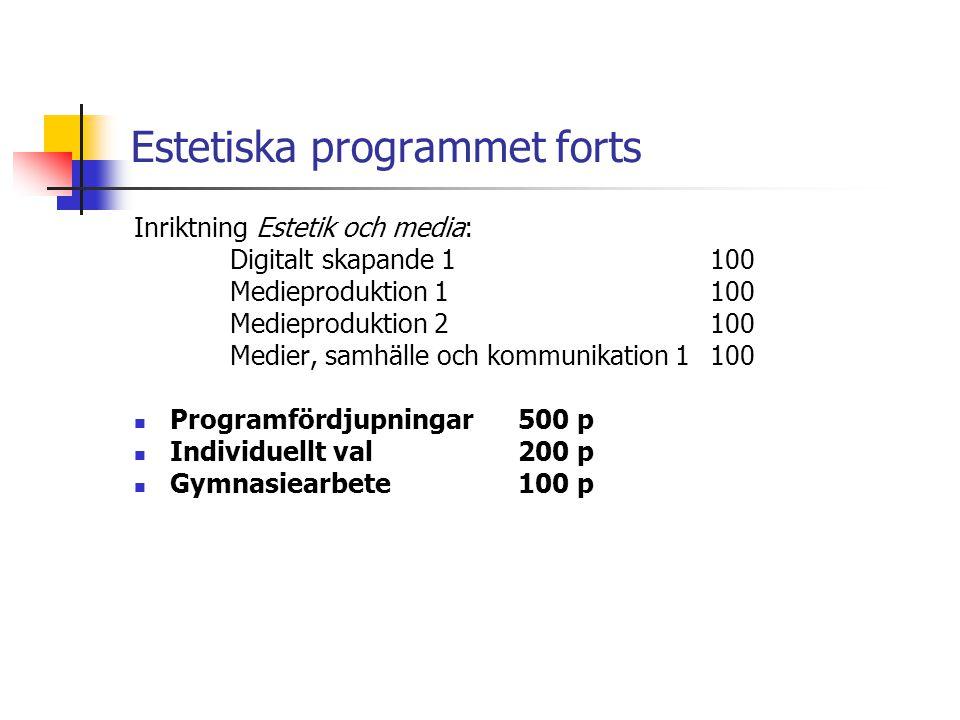 Estetiska programmet forts Inriktning Estetik och media: Digitalt skapande 1100 Medieproduktion 1100 Medieproduktion 2100 Medier, samhälle och kommuni