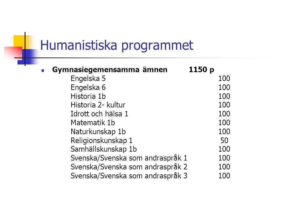 Humanistiska programmet  Gymnasiegemensamma ämnen1150 p Engelska 5100 Engelska 6100 Historia 1b100 Historia 2- kultur100 Idrott och hälsa 1100 Matema