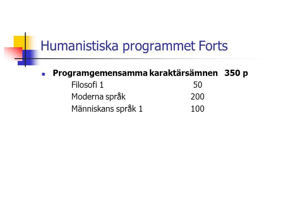Humanistiska programmet Forts  Programgemensamma karaktärsämnen 350 p Filosofi 1 50 Moderna språk200 Människans språk 1100