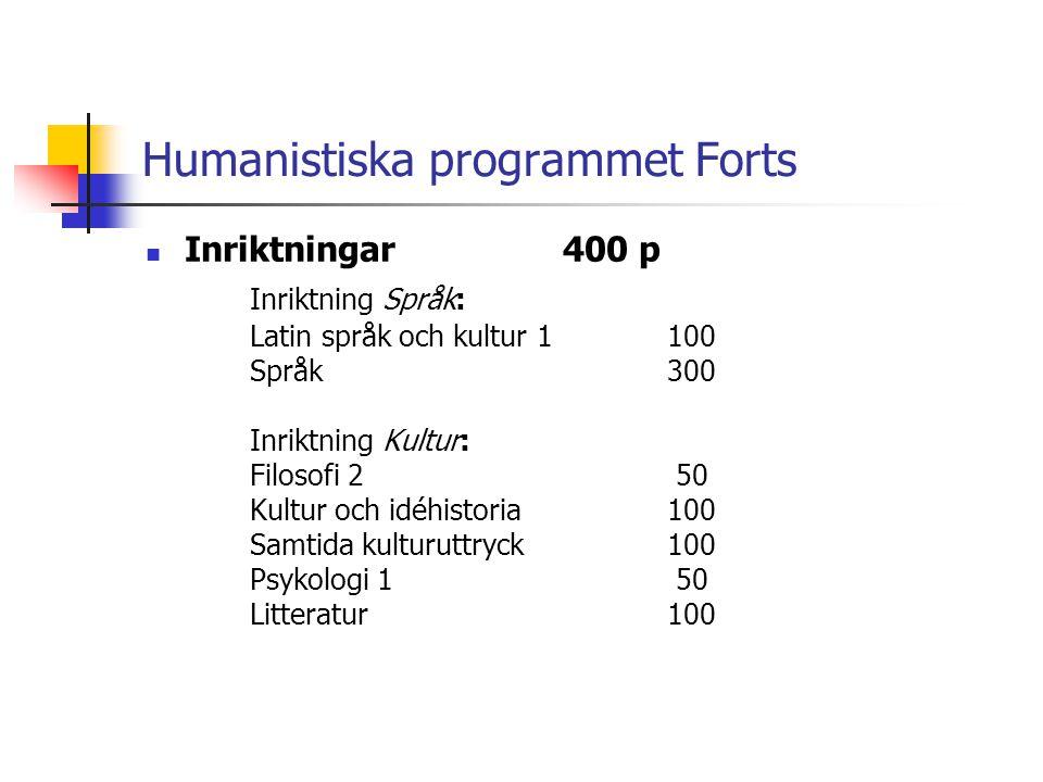 Humanistiska programmet Forts  Inriktningar400 p Inriktning Språk: Latin språk och kultur 1100 Språk300 Inriktning Kultur: Filosofi 2 50 Kultur och i