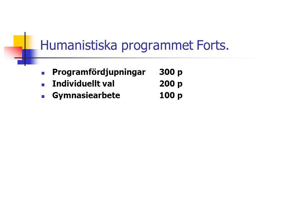 Humanistiska programmet Forts.  Programfördjupningar300 p  Individuellt val200 p  Gymnasiearbete100 p