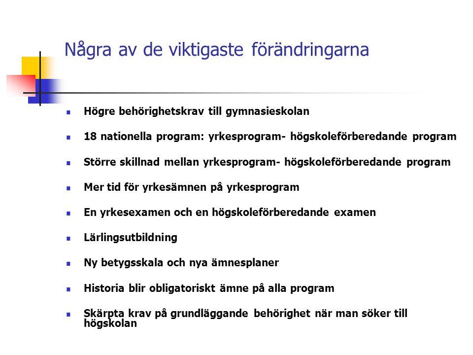 Några av de viktigaste förändringarna  Högre behörighetskrav till gymnasieskolan  18 nationella program: yrkesprogram- högskoleförberedande program