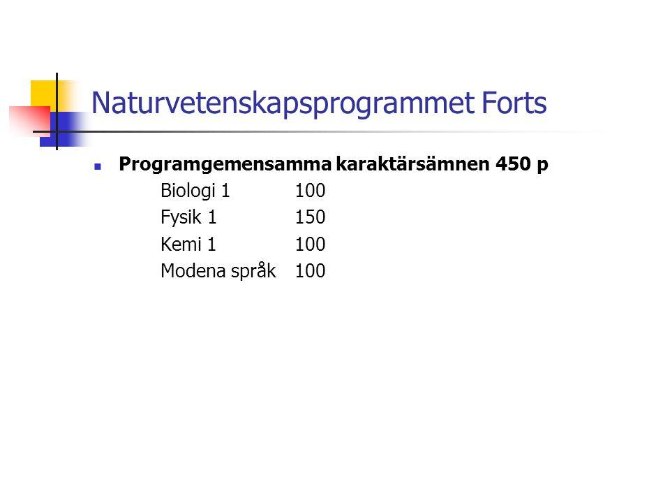 Naturvetenskapsprogrammet Forts  Programgemensamma karaktärsämnen450 p Biologi 1100 Fysik 1150 Kemi 1100 Modena språk100