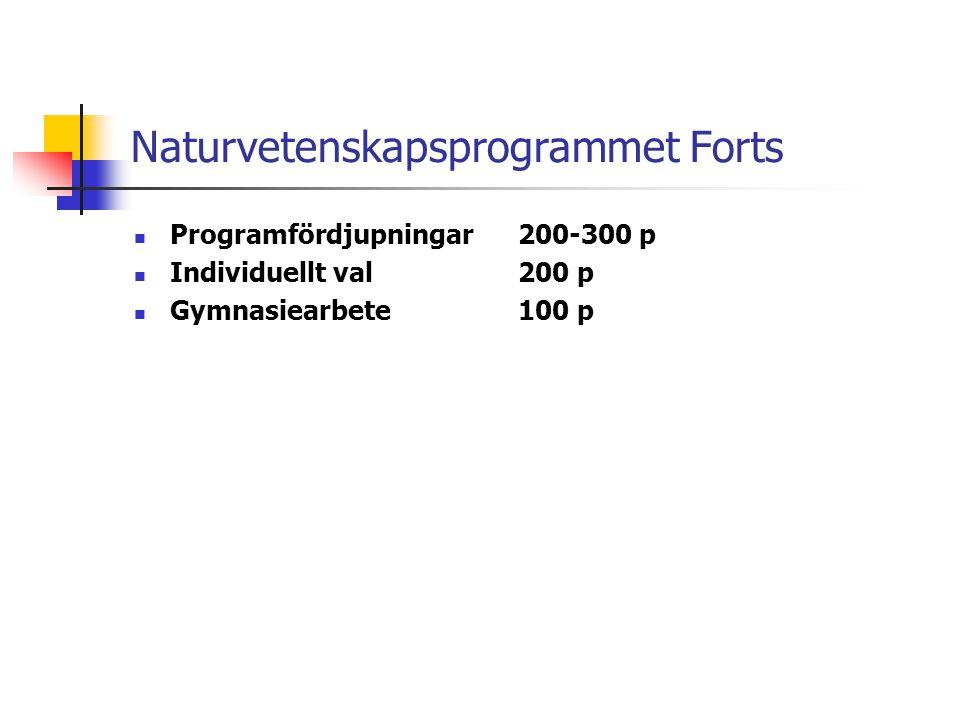 Naturvetenskapsprogrammet Forts  Programfördjupningar 200-300 p  Individuellt val200 p  Gymnasiearbete100 p